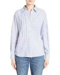 Burberry Posy Stripe Bib Boyfriend Shirt