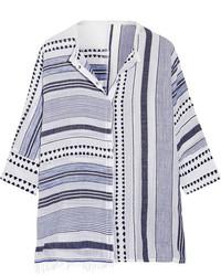 Lemlem Yeshi Striped Cotton Blend Gauze Shirt Midnight Blue