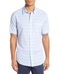 Light Blue Horizontal Striped Short Sleeve Shirt