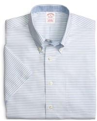 Brooks Brothers Supima Cotton Non Iron Regular Fit Horizontal Stripe Short Sleeve Sport Shirt