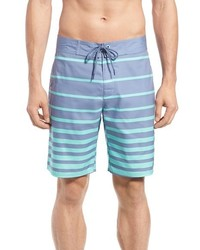 Light Blue Horizontal Striped Shorts
