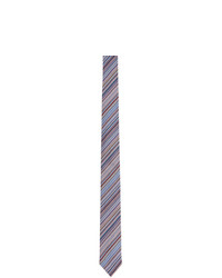 Paul Smith Blue And Multicolor Silk Striped Narrow Tie