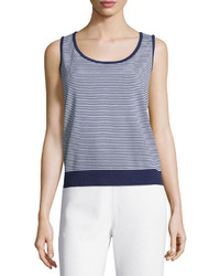 St. John Striped Santana Knit Tank Bright Whiteink