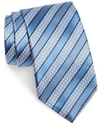 Light Blue Horizontal Striped Tie