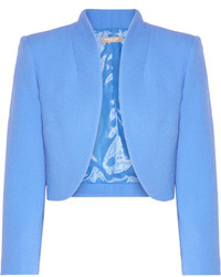 Michael Kors Michl Kors Collection Cropped Wool Blend Crepe Jacket Azure