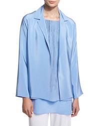Shamask Notched Collar Open Front Jacket Blue
