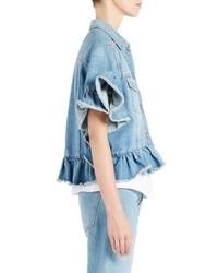 MSGM Ruffle Trim Crop Jean Jacket