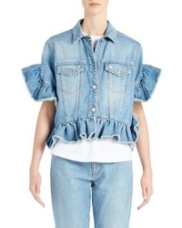 MSGM Ruffle Trim Crop Jean Jacket