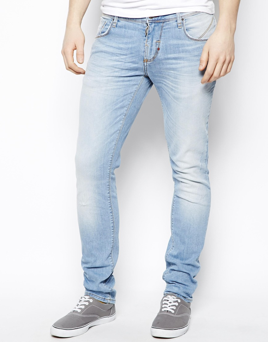 mens light blue slim fit jeans - Jean Yu Beauty