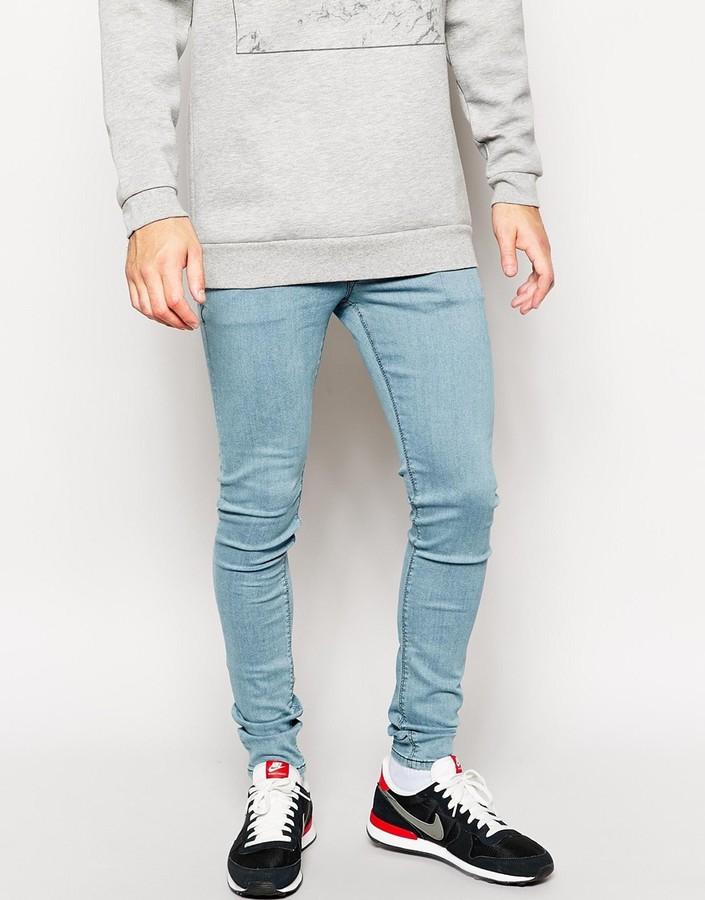 e989037ba ... Blue Jeans Asos Brand Extreme Super Skinny Jeans In Light Wash ...