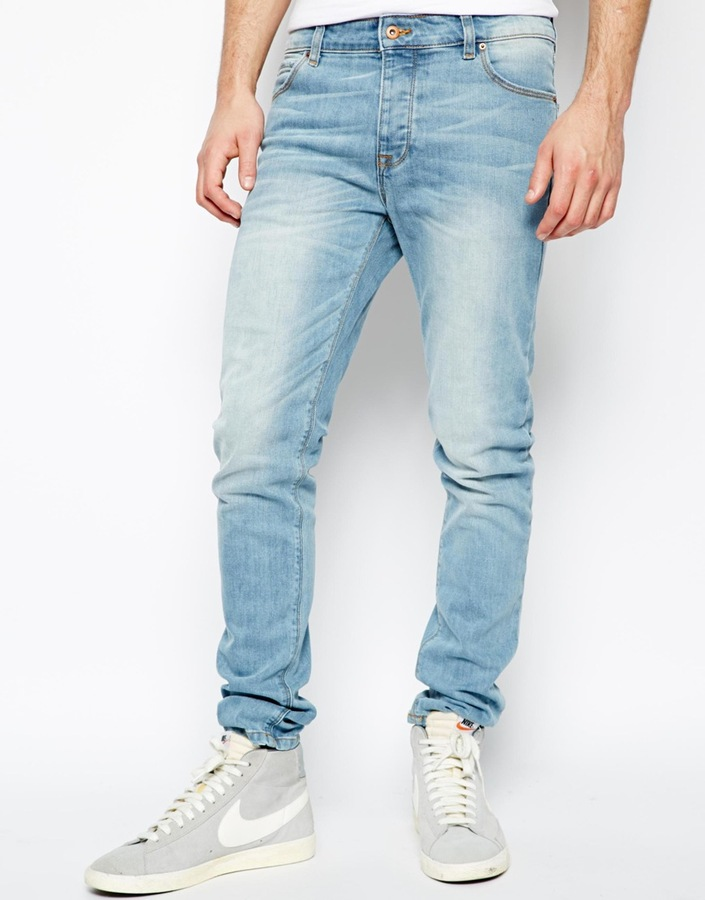 f418b053971a Asos Brand Skinny Jeans In Light Wash 51 Lookastic