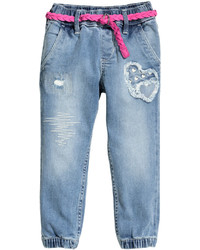 H&M Denim Joggers With Belt Light Denim Blue Kids