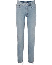 Balenciaga Distressed High Rise Straight Leg Jeans