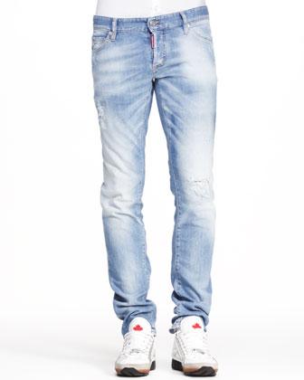 27d320da36 ... DSQUARED2 Distressed Five Pocket Jeans Light Blue
