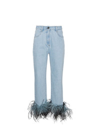 Prada Feather Cuff Jeans
