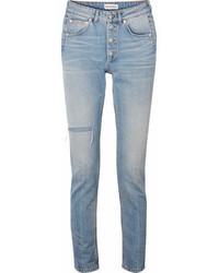 Balenciaga High Rise Distressed Slim Leg Jeans Blue