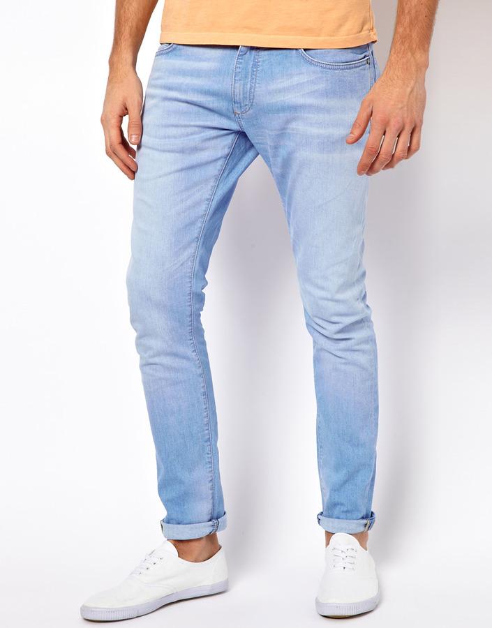 ... Jack and Jones Jack Jones Ben Original Skinny Fit Jeans Light Blue