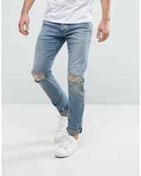 a8d9200a00f4 Jack and Jones Jack Jones Intelligence Slim Fit Jeans In Light Blue Wash  With Knee Rips