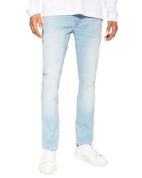 Topman Light Wash Stretch Tapered Slim Fit Jeans