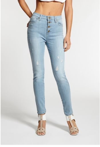 Otis 1981 High Rise Button Front Skinny Jeans In Wash