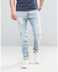 ONLY & SONS Slim Fit Jeans In Light Denim Heavy Rip Detail