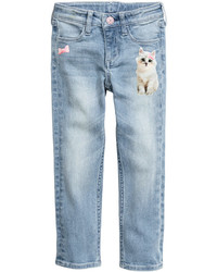 H&M Slim Jeans With Printed Motif Light Denim Blue Kids