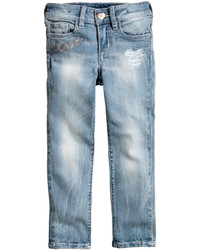 H&M Slim Jeans With Sequins Light Denim Blue Kids