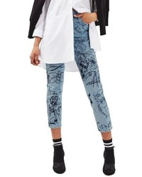 Topshop Scribble Crop Mom Jeans