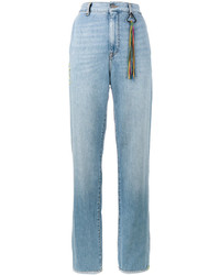 Mira Mikati Turn Up Wide Leg Denim Jeans