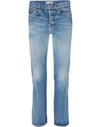 Balenciaga Twisted High Rise Straight Leg Jeans Blue