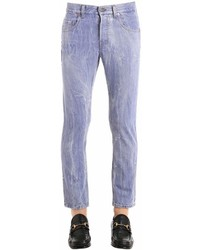 Gucci Wolf Patch Marbled Cotton Denim Jeans