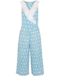 Raflla lace trimmed broderie anglaise gingham cotton jumpsuit light blue medium 4393946