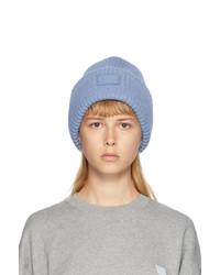 Acne Studios Blue Rib Knit Patch Beanie