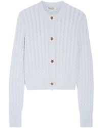 Embellished cable knit cashmere cardigan sky blue medium 5363765