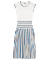 Bottega Veneta Pleated Jacquard Knit Dress Blue