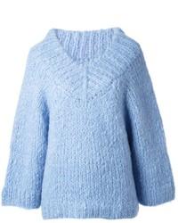 Light Blue Knit Oversized Sweater