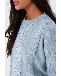 rhythm Fleetwood Light Blue Cable Knit Sweater | Where to buy ...