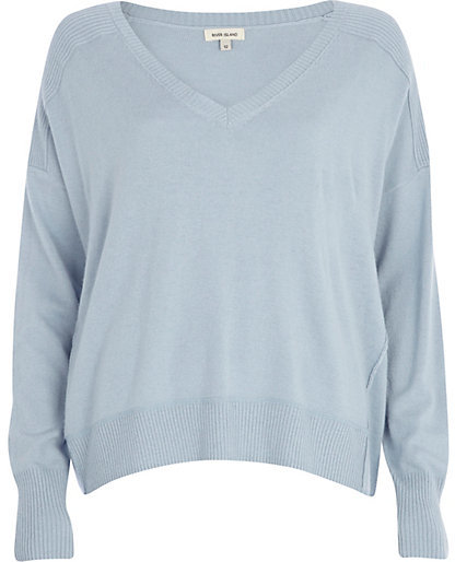 River Island Light Blue Elbow Patch Oversized Sweater | Where to ...