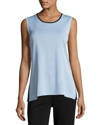 Misook Contrast Scoop Neck Knit Tank Petite