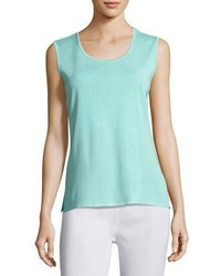 Misook Scoop Neck Knit Tank Sea Grass Petite