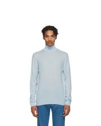 Lanvin Blue Cashmere Turtleneck Sweater
