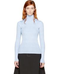 Blue rib knit turtleneck medium 5081993