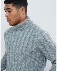 ASOS DESIGN Heavyweight Cable Knit Roll Neck Jumper In Blue Twist