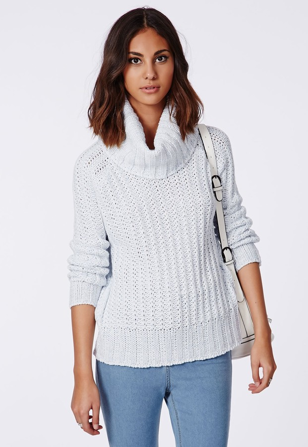 Missguided Carina Chunky Knit Roll Neck Sweater Blue | Where to ...