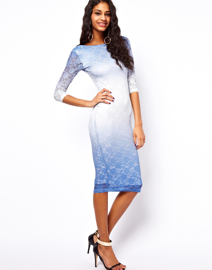 Asos ASOS Midi Dress In Ombre Lace - Blue | Where to buy & how to wear