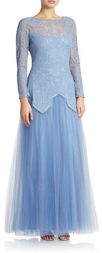 Lace Overlay Tulle Gown