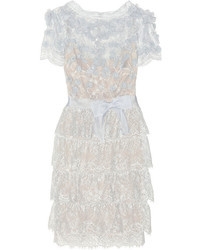 Marchesa Tiered Floral Appliqud Lace Dress