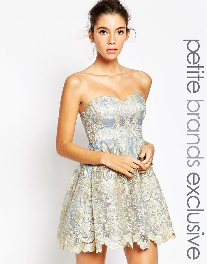 Chi Chi London Petite Embroidered Lace Bandeau Prom Dress | Where ...