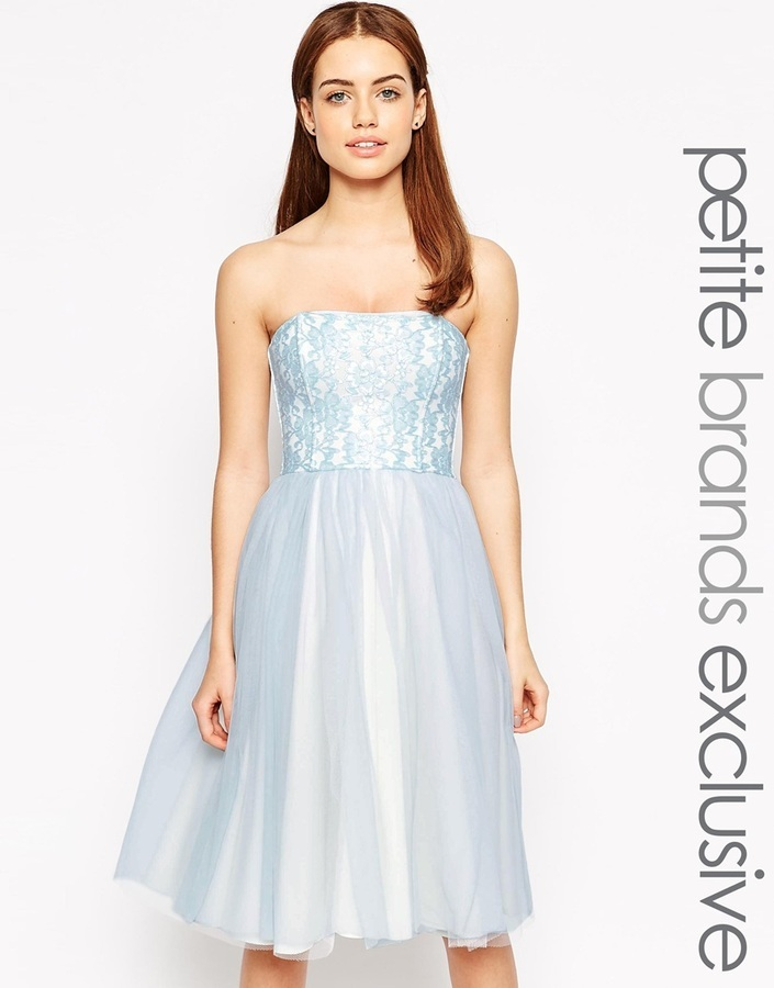 John Zack Petite Bandeau Midi Prom Dress With Tulle Skirt | Where ...