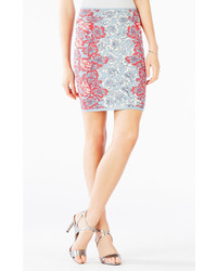 BCBGMAXAZRIA Pavel Lace Poppies Knit Jacquard Skirt